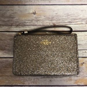 NWT Coach Gold Sequin Star Small Wristlet